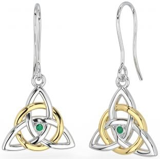 """14K White & Yellow Gold coated Solid Silver Irish Genuine Emerald """"Celtic Knot"""" Dangle Earrings"""