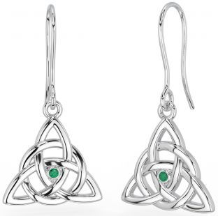 """14K Two Tone Gold Solid Silver Irish """"Celtic Knot"""" Earrings"""