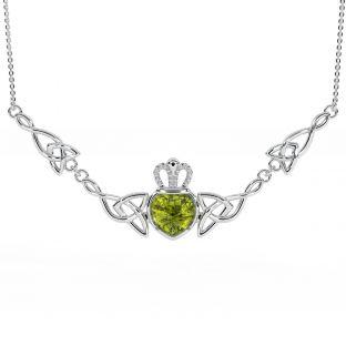 "Silver ""Irish Amber"" Claddagh Necklace"