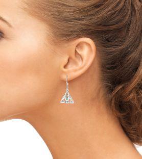 "14K White Gold Solid Silver Irish Genuine Emerald ""Celtic Knot"" Dangle Earrings"