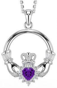 Amethyst Diamond Silver Claddagh Pendant Necklace - February Birthstone