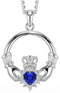 Sapphire Diamond Silver Claddagh Pendant Necklace - September Birthstone