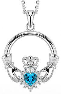 Topaz Diamond Silver Claddagh Pendant Necklace - December Birthstone