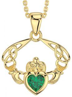 "14K Gold Silver Emerald Celtic ""Claddagh"" Pendant Necklace"