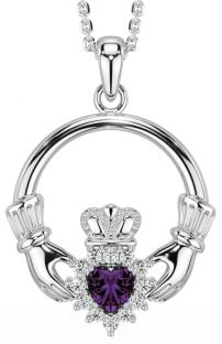 Alexnadrite Diamond Silver Claddagh Pendant Necklace - June Birthstone