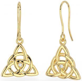 """Gold Genuine Diamond """"Celtic Knot"""" Dangle Earrings"""