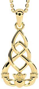 Gold Celtic Claddagh Pendant Necklace