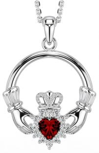 Garnet Diamond Silver Claddagh Pendant Necklace  - January Birthstone