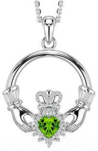 Peridot Diamond Silver Claddagh Pendant Necklace - August Birthstone