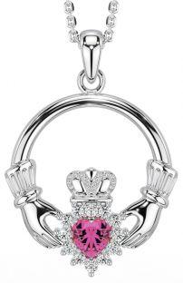 Pink Tourmaline Diamond Silver Claddagh Pendant Necklace - October Birthstone