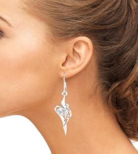 Diamond Silver Celtic Dangle Earrings