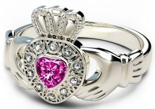 10K/14K/18K White Gold Genuine Diamond .13cts Genuine Pink Sapphire .25cts Claddagh Engagement Ring - September Birthstone
