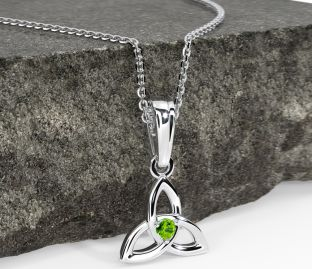 """White Gold Peridot .06cts """"Celtic Knot"""" Pendant Necklace - August Birthstone"""