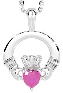 White Gold Pink Sapphire .18cts Irish Claddagh Pendant Necklace - October Birthstone