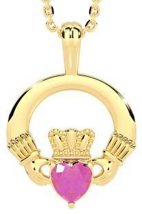 Gold Pink Sapphire .18cts Irish Claddagh Pendant Necklace - October Birthstone