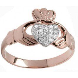 10K/14K/18K Rose Gold Genuine Diamond .07cts Claddagh Ring