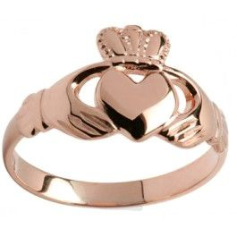Ladies 10K/14K/18K Rose Gold Claddagh Ring