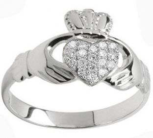 10K/14K/18K White Gold Genuine Diamond .07cts Claddagh Ring