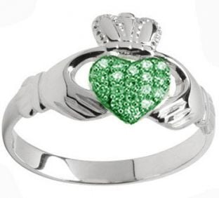 10K/14K/18K White Gold Genuine Emerald .07cts Claddagh Ring