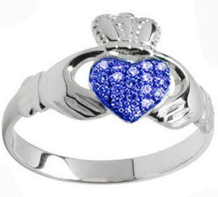 10K/14K/18K White Gold Genuine Sapphire .07cts Claddagh Ring - September Birthstone