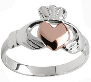 Ladies Silver & Solid Rose Gold Heart Two tone Claddagh Ring