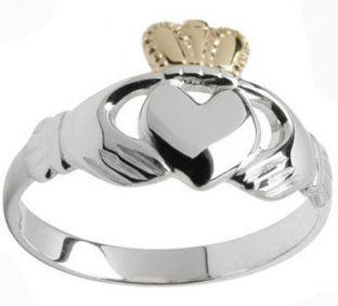 Ladies 10K/14K/18K two tone White Gold & Yellow Gold Crown Claddagh Ring
