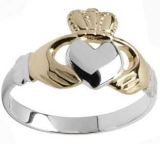 White with yellow gold hands and crown Claddagh ring