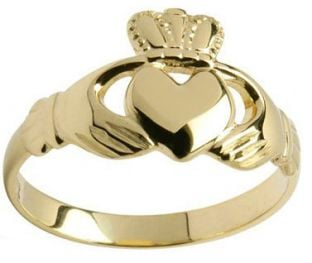 Ladies 10K/14K/18K Yellow Gold Claddagh Ring