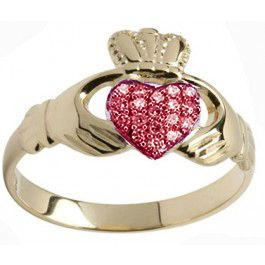 10K/14K/18K Gold Genuine Ruby .07cts Claddagh Ring - July Birthstone
