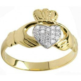 10K/14K/18K Yellow Gold Genuine Diamond .07cts Claddagh Ring