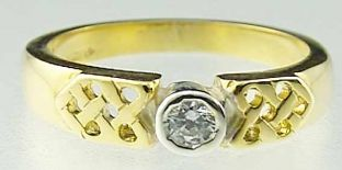 Ladies 10K/14K/18K Two Tone Gold Diamond Celtic Ring