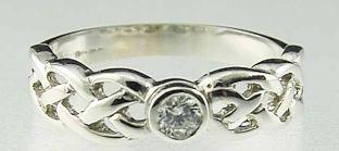 Ladies 10K/14K/18K White Gold Diamond Celtic Ring