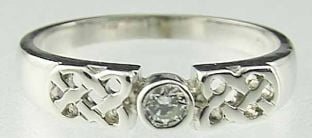 Ladies 10K/14K/18K White Gold Diamond Celtic Ring