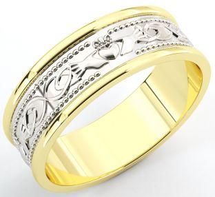 10K/14K/18K Two Tone Gold White & Yellow Claddagh Celtic Wedding Band Ring unisex