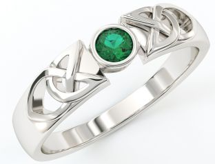 Ladies 10K/14K/18K White Gold Emerald Celtic Ring
