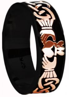 Mens Black Rhodium Rose Gold Celtic Claddagh Band Ring