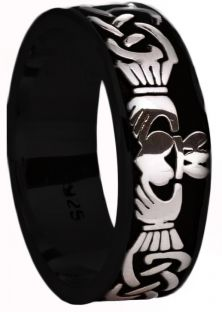Mens Black Rhodium White Gold Celtic Claddagh Band Ring