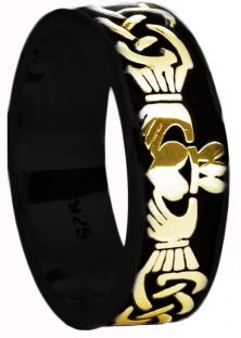 Mens Black Rhodium Gold Celtic Claddagh Band Ring