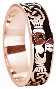 14K Rose Gold Silver Celtic Claddagh Band Ring Ladies