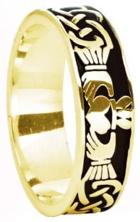14K Gold Silver Celtic Claddagh Band Ring Ladies