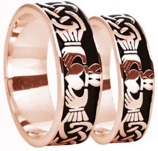 14K Rose Gold Silver Celtic Claddagh Band Ring Set