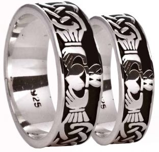 Silver Celtic Claddagh Band Ring Set