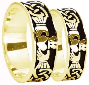 14K Gold Silver Celtic Claddagh Band Ring Set