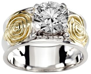 Ladies Diamond Silver Gold Celtic Spiral Knot Ring - April Birthstone