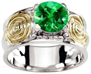 Ladies Emerald Silver Gold Celtic Spiral Knot Ring - May Birthstone