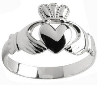 Mens 10K/14K/18K White Gold Claddagh Ring