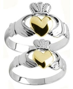 Silver & Yellow Gold Heart Two Tone Claddagh Ring Set
