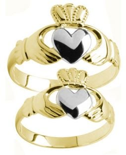 Yellow & White Gold Two Tone Claddagh Ring Set