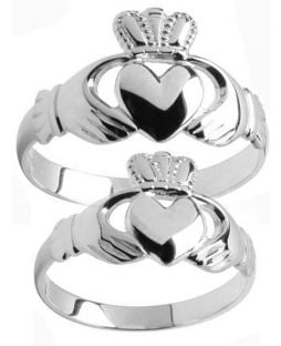 White Gold Claddagh Ring Set