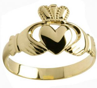 Mens 10K/14K/18K Yellow Gold Claddagh Ring